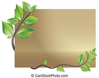 kaart, verfraaide, met, bladeren