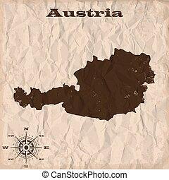 kaart, verfrommeld, oud, paper., illustratie, oostenrijk, vector, grunge