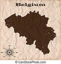 kaart, verfrommeld, oud, paper., illustratie, vector, belgie, grunge