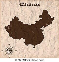 kaart, verfrommeld, oud, paper., illustratie, vector, china, grunge