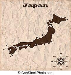 kaart, verfrommeld, oud, paper., illustratie, vector, japan, grunge