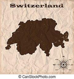 kaart, verfrommeld, oud, paper., illustratie, vector, zwitserland, grunge