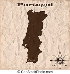 kaart, verfrommeld, oud, portugal, paper., illustratie, vector, grunge