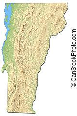 kaart, vermont, states), (united, -, verlichting, 3d-rendering