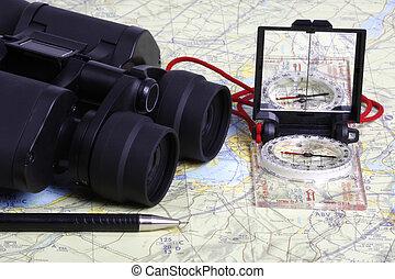 kaart, verrekijker, -2, kompas