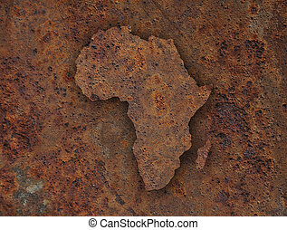 kaart, verroest metaal, afrika