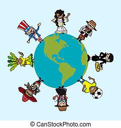 kaart, verscheidenheid, mensen, op, stripfiguren, wereld