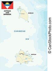kaart, vlag, barbuda, antigua
