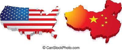 kaart, vlag, china, ons, 3d
