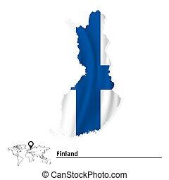 kaart, vlag, finland