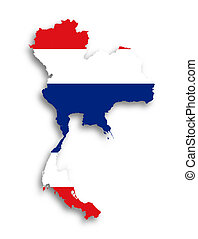 kaart, vlag, gevulde, thailand