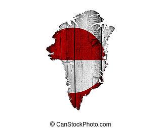 kaart, vlag, groenland, hout, verweerd