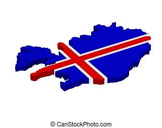 kaart, vlag, ijsland
