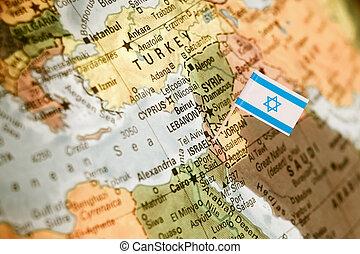 kaart, vlag, israël
