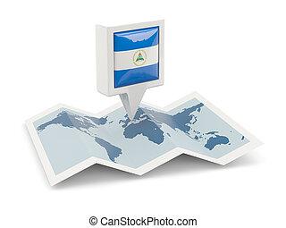 kaart, vlag, plein, nicaragua, spelden