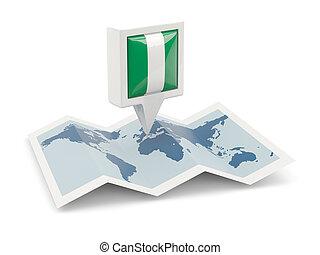 kaart, vlag, plein, nigeria, spelden