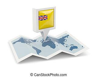 kaart, vlag, plein, niue, spelden