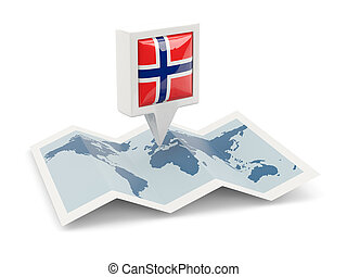 kaart, vlag, plein, noorwegen, spelden