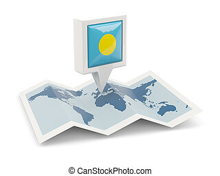 kaart, vlag, plein, palau, spelden