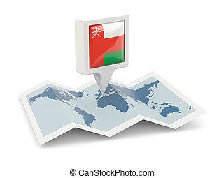 kaart, vlag, plein, spelden, oman