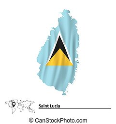 kaart, vlag, saint lucia