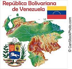 kaart, vlag, venezuela, jas