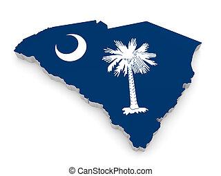 kaart, vlag, zuidelijke carolina