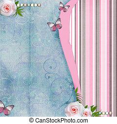 kaart, voor, felicitatie, of, uitnodiging, met, rooskleurige rozen, vlinder, oud, papier