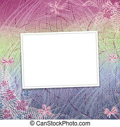 kaart, voor, uitnodiging, of, felicitatie, met, orchids, en, boog