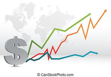 kaart, voorspelling, dollar, grafiek
