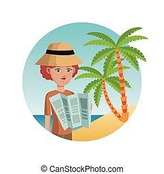 kaart, vrouw, toerist, hoedje, zand, palm lees, strand