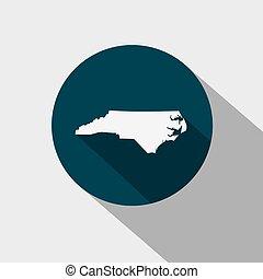 kaart, v.s., noorden, staat, carolina