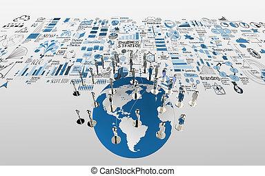 kaart, wereld, concept, netwerk, zakelijk, hand, menselijk, sociaal, getrokken, strategie, 3d