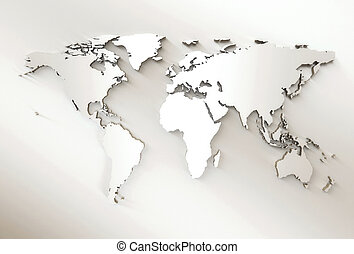 kaart, -, wereld, embossed, witte , 3d