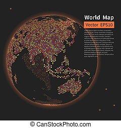 kaart, wereld, globe., dotted, concept., achtergrond., globalisatie, vector, nacht, aarde