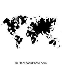 kaart, wereld, handen