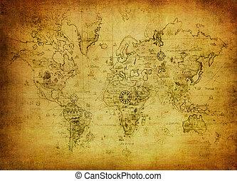 kaart, wereld, oud