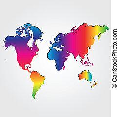 kaart, wereld, regenboog