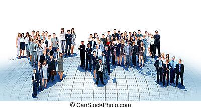 kaart, wereld, team, zakenlui