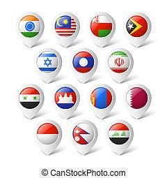 kaart, wijzers, flags., asia.