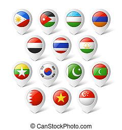 kaart, wijzers, met, flags., asia.