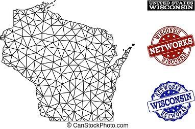 kaart, wisconsin, netwerk, staat, maas, polygonal, postzegels, vector, grunge