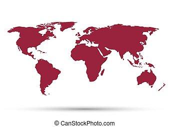 kaart, witte achtergrond, wereld