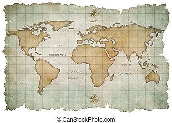 kaart, witte , oud, vrijstaand, wereld
