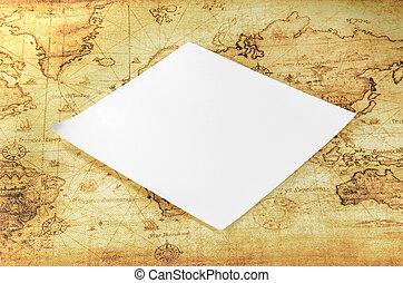 kaart, witte , papier, oude wereld