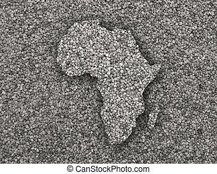 kaart, zaden, afrika, klaproos