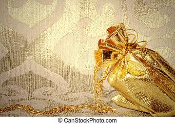 kaart, zak, met, gouden juwelen