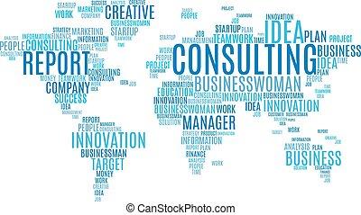 kaart, zakelijk, markeringen, marketing, woorden, wereld, wolk