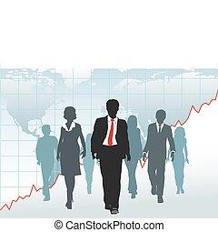 kaart, zakenlui, globaal, tabel, wandeling, team, wereld