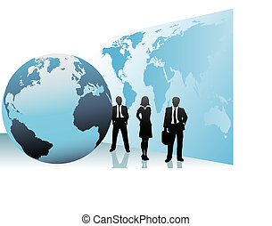 kaart, zakenlui, globe globaal, internationaal, wereld